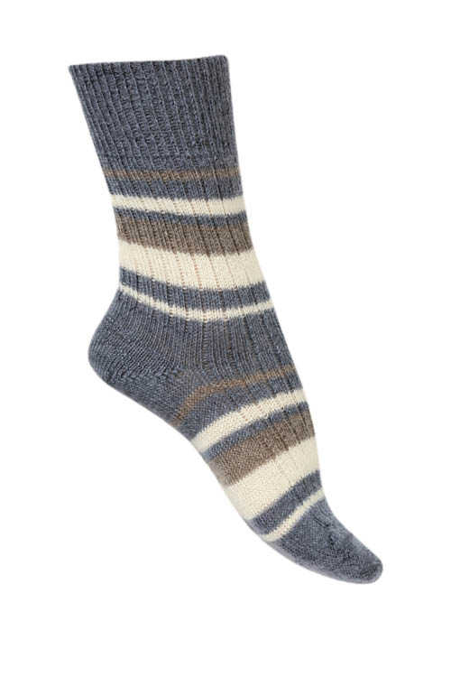 Chaussettes laine Mohair rayures multicolores
