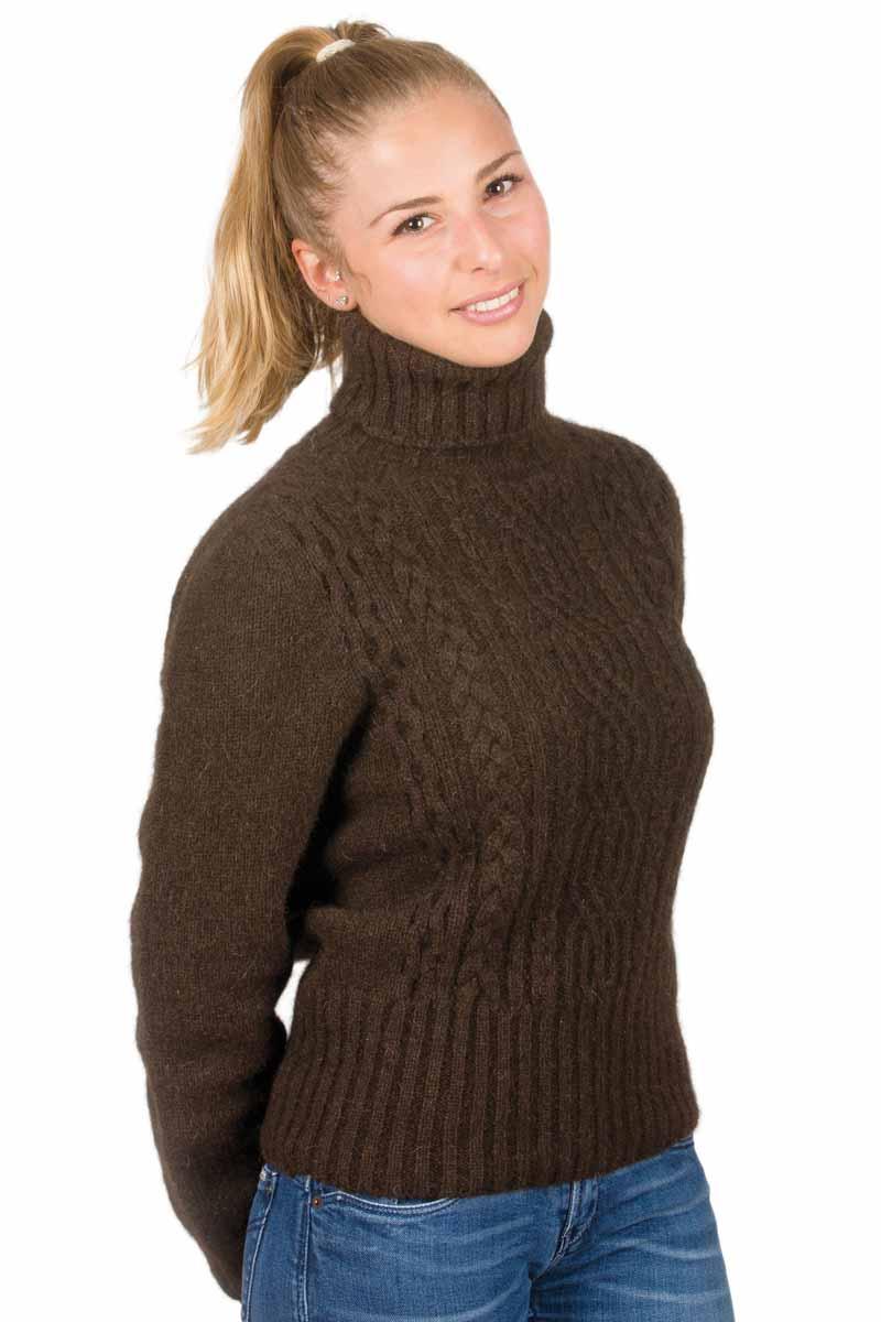 images détaillées acheter pas cher gros en ligne Pull en laine yack irlandais col roulé